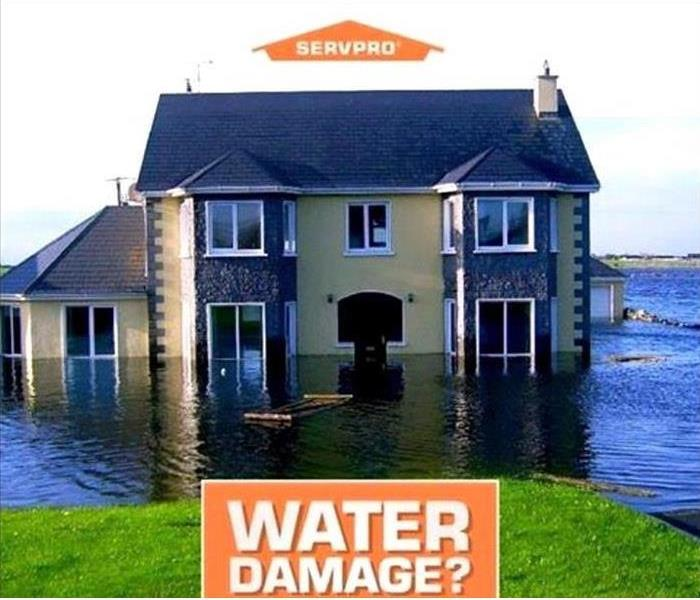 House sitting in flood waters, titled Water Damage?