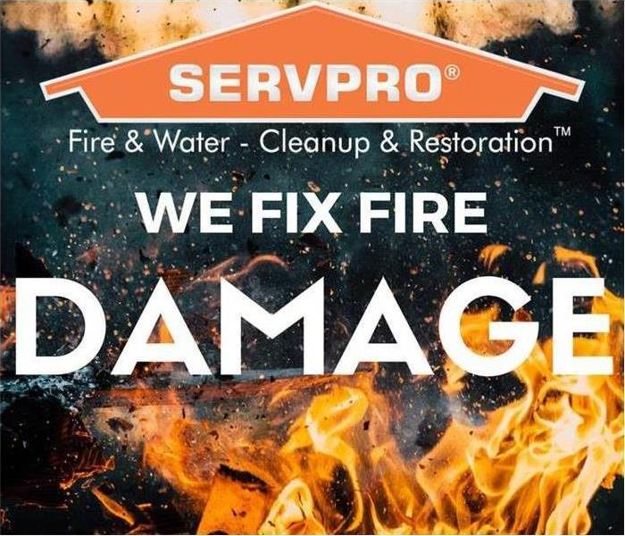 "SERVPRO logo over flames with words saying ""We fix fire damage."""